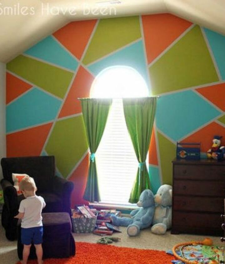 s 12 bedroom wall ideas you re so going to fall for, bedroom ideas, Paint in bright geometric shapes