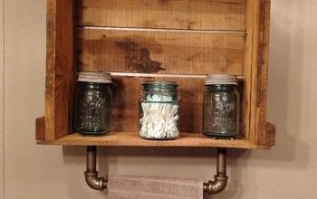 Industrial Meets Primitive-Iron Pipe Towel Bar & Crate Shelf