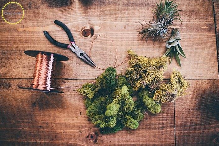 copper wire wreath with air plants, crafts, gardening, wreaths