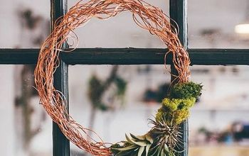 copper wire wreath with air plants, crafts, gardening, wreaths