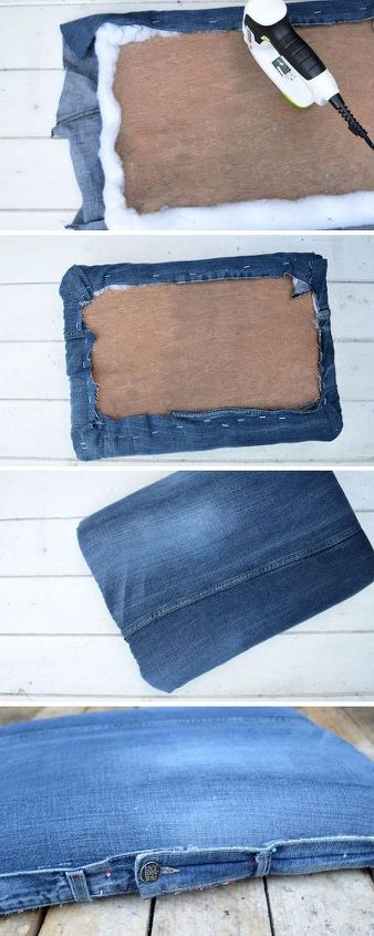 diy an awesome footstool with storage from jeans and a crate, storage ideas