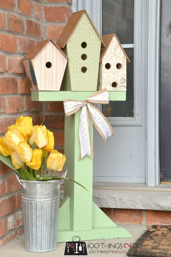 spring birdhouse display