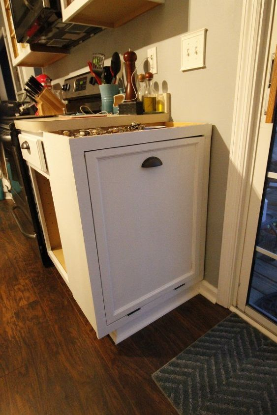 turning a cabinet into a tilt out trashcan hometalk