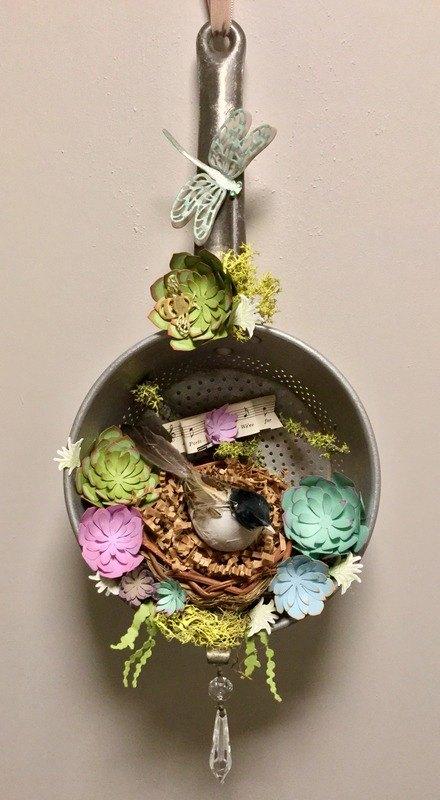 e crafternoons paper succulents in upcycled vintage metal straine, flowers, gardening, succulents
