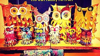, The entire Owl family portrait Back row using empty McDonald paper bag n used small Chilli sauce plastic plates for eyes
