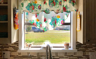 pioneer woman tablecloth turned into curtains, home decor, window treatments