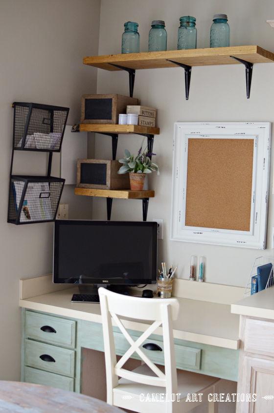 kitchen desk area makeover, kitchen design, painted furniture