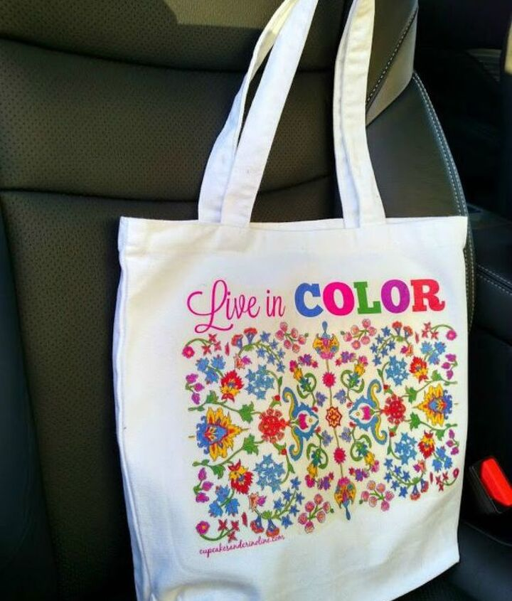 s how to fake high end decor with adult coloring books, home decor, how to, Decorate your shopping tote bag
