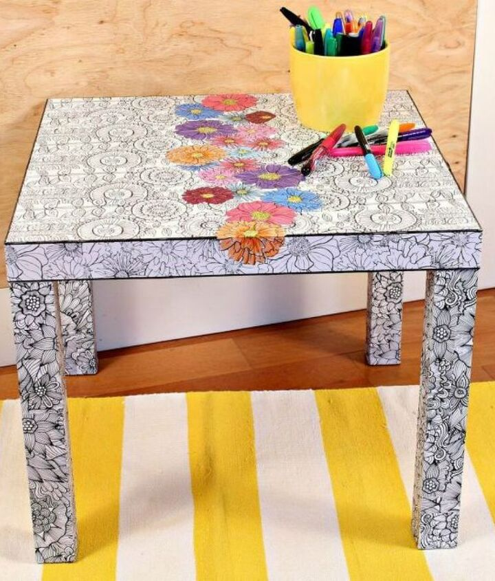 s how to fake high end decor with adult coloring books, home decor, how to, Decoupage your Ikea coffee table