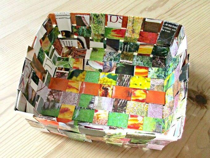 recycled magazine basket, crafts