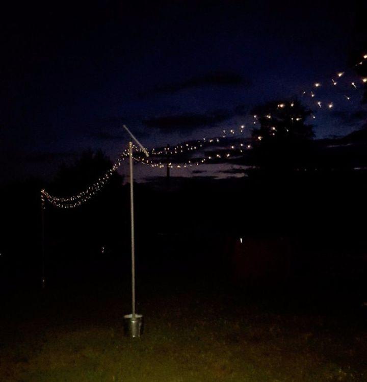 Diy Ceiling String Lights : DIY String Light Poles Hometalk