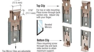 , 2 part frame less mirror mounting clips