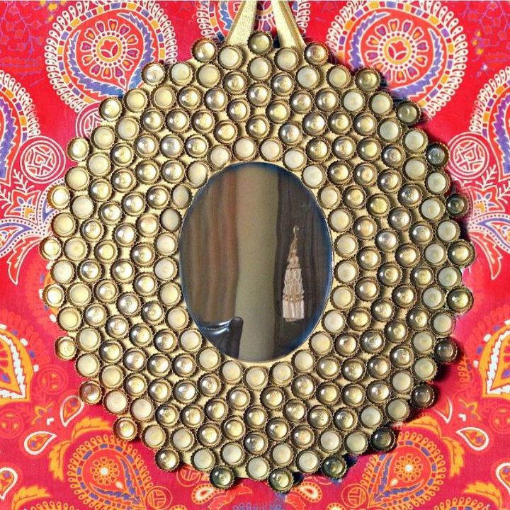 s save your bottle caps for these x crazy cool ideas, A super cool boho mirror