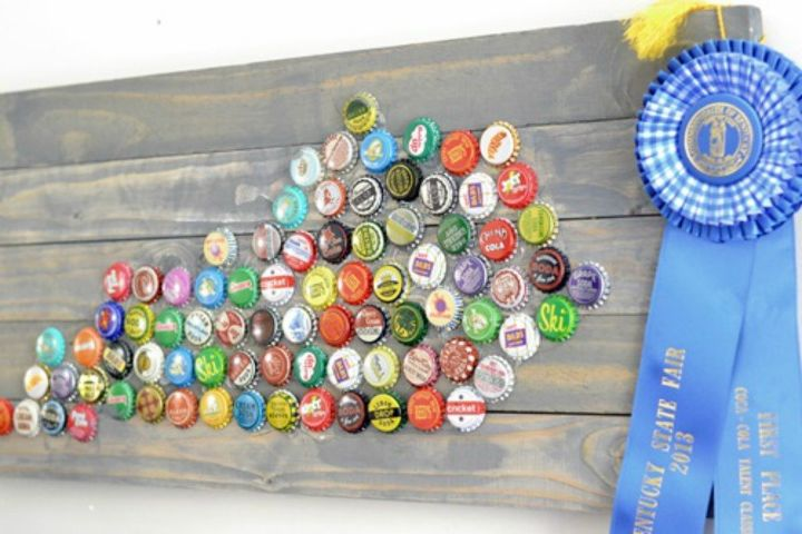 s save your bottle caps for these x crazy cool ideas, A patriotic state sign