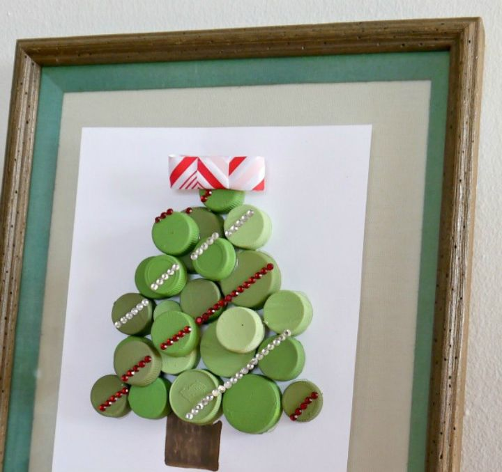 s save your bottle caps for these x crazy cool ideas, An adorable cap Christmas tree