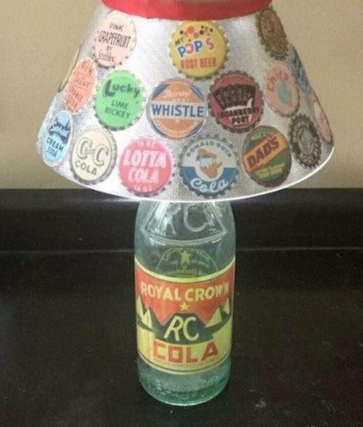 s save your bottle caps for these x crazy cool ideas, A super retro lamp shade