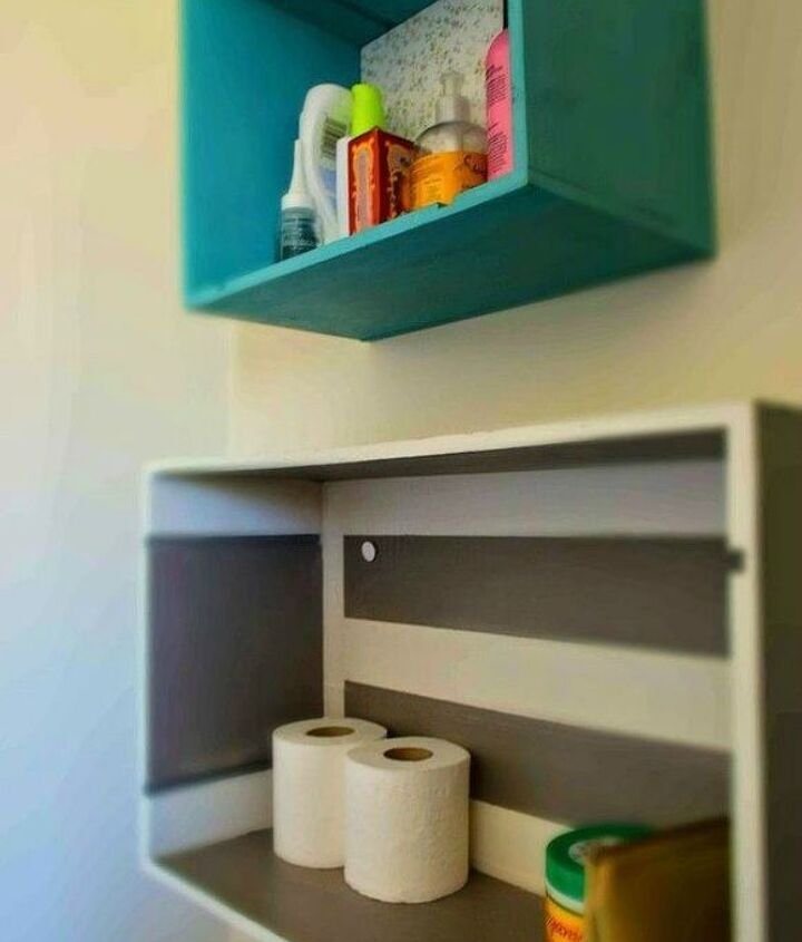 s replace your bathroom shelves with these 13 creative ideas, bathroom ideas, shelving ideas, Repurpose drawers into eclectic shelves
