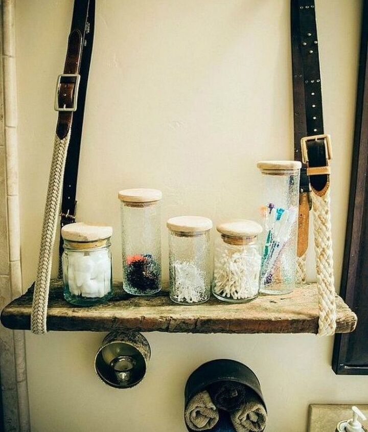 s replace your bathroom shelves with these 13 creative ideas, bathroom ideas, shelving ideas, Rope a belt around a piece of wood