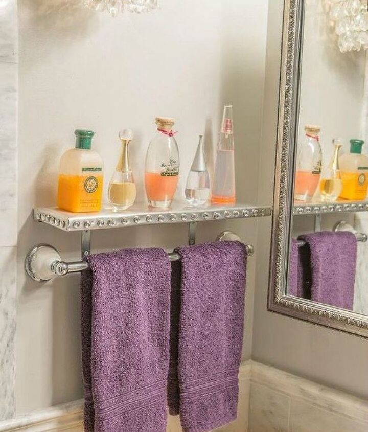 s replace your bathroom shelves with these 13 creative ideas, bathroom ideas, shelving ideas, Glitz it up with silver foil and gems
