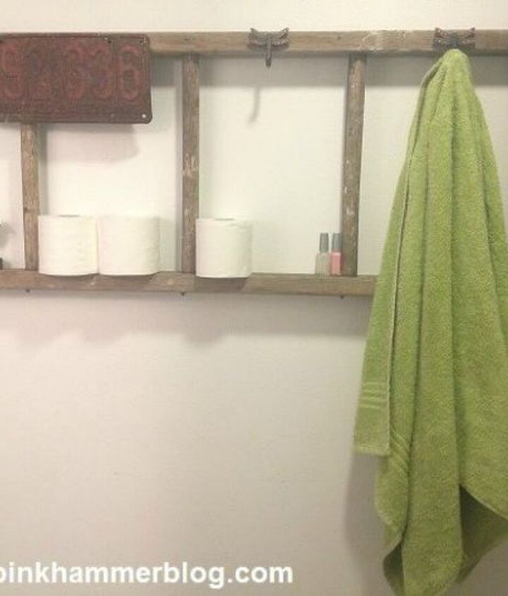 s replace your bathroom shelves with these 13 creative ideas, bathroom ideas, shelving ideas, Turn an old ladder on its side