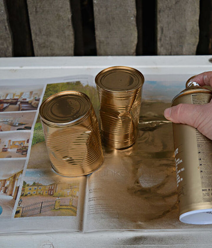 10 minute upcycled crushed gold tin can planters, gardening