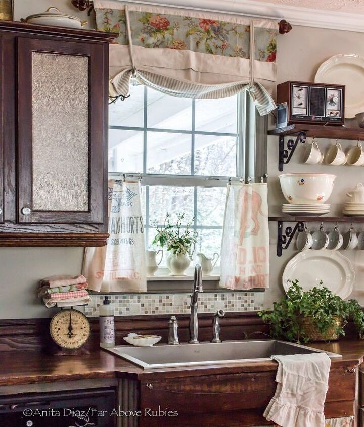 vintage feed sacks become cafe curtains, repurposing upcycling, window treatments, windows