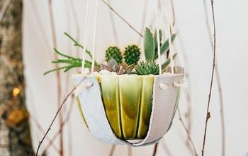 diy leather plant hangers, gardening