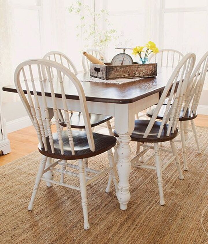 farmhouse dining room table chairs makeover, painted furniture