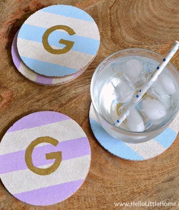 diy striped monogram coasters