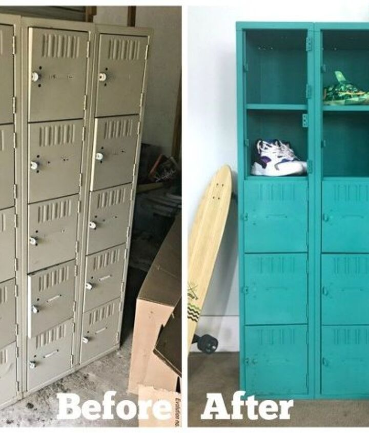 how to paint metal lockers, how to, storage ideas