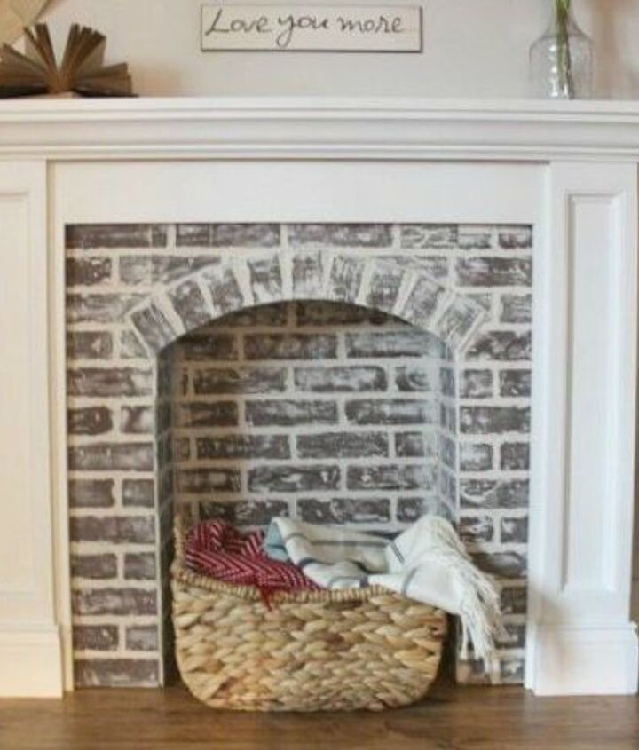 s 12 stunning ways to get that exposed brick look in your home, Embellish wood to fake a brick fireplace