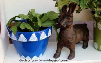 turn plain flower pots into cute ones