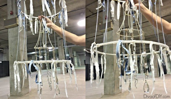 make a deconstructed shabby chandelier