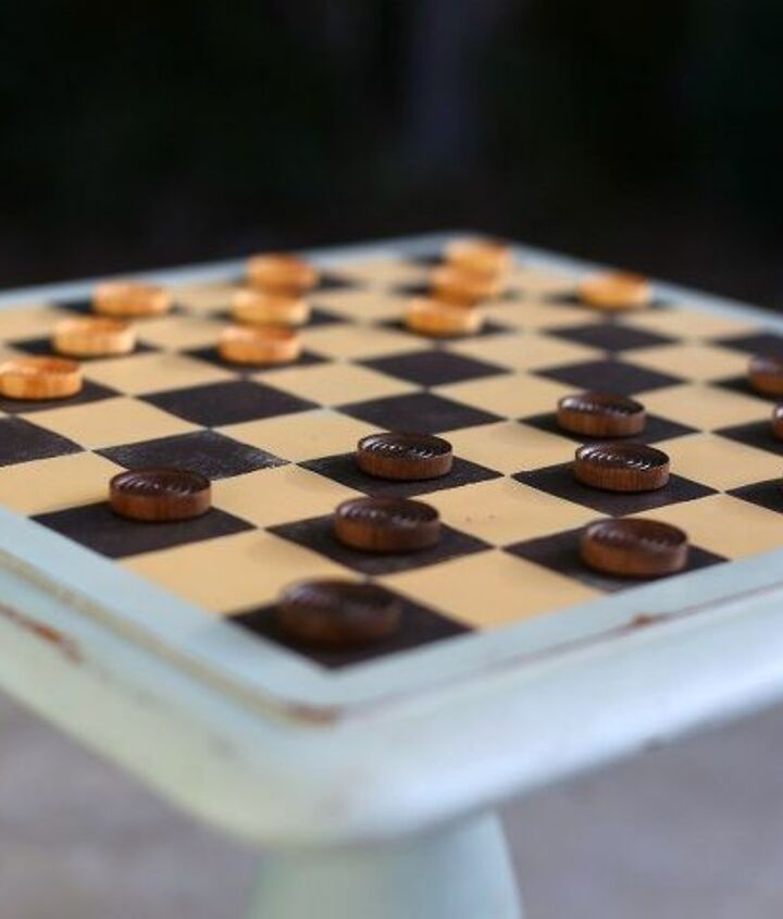 turn an odd end table into a game table