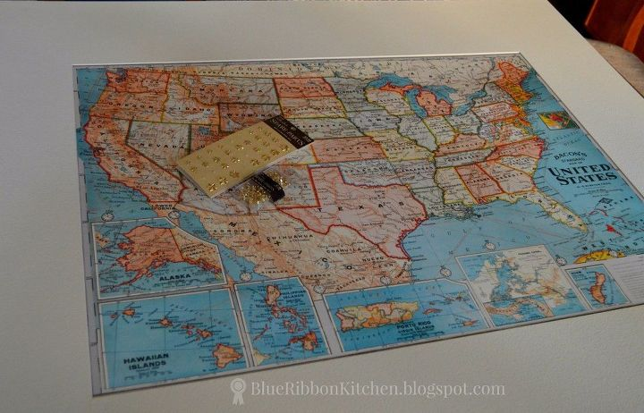 Family travel map wall art made from a thrifty find hometalk family travel map wall art made from a thrifty find gumiabroncs Choice Image