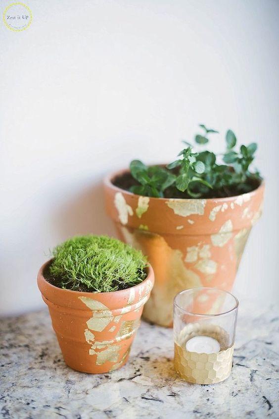 terra cotta gold leaf pots