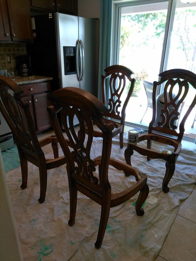We Used an Old Shower Curtain to Recover These Old Chairs!! | Hometalk