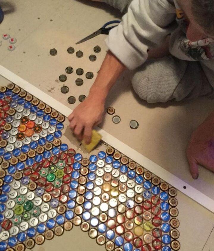 bottle cap floor tile