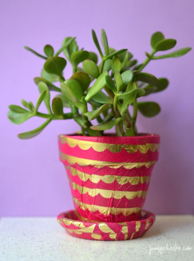tissue paper terra cotta planter