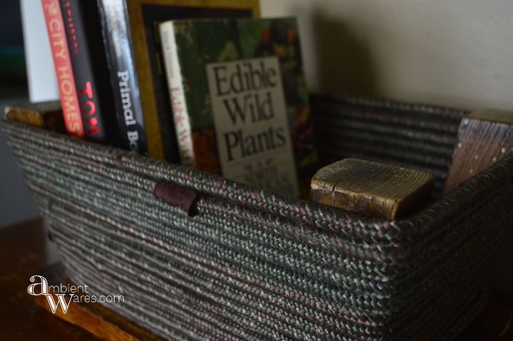 diy basket from a foot stool