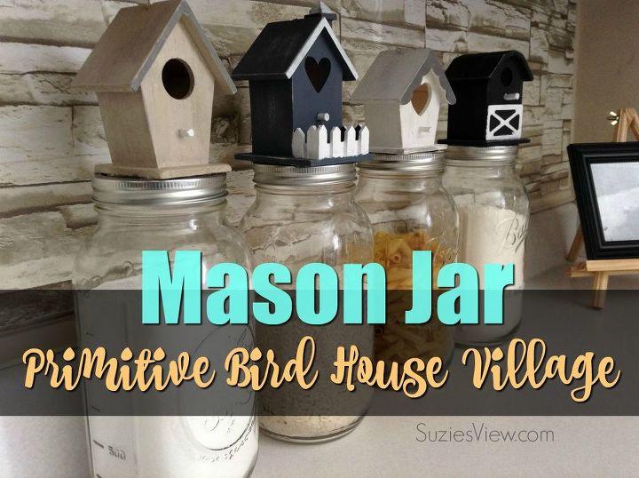 mason jar bird house village set