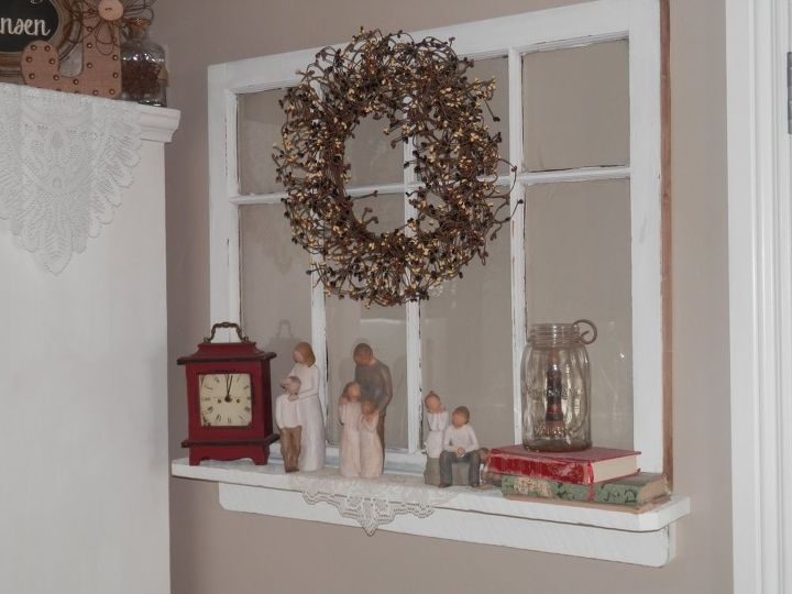 repurposed old window to shelf decoration, crafts, repurposing upcycling, shelving ideas, wreaths
