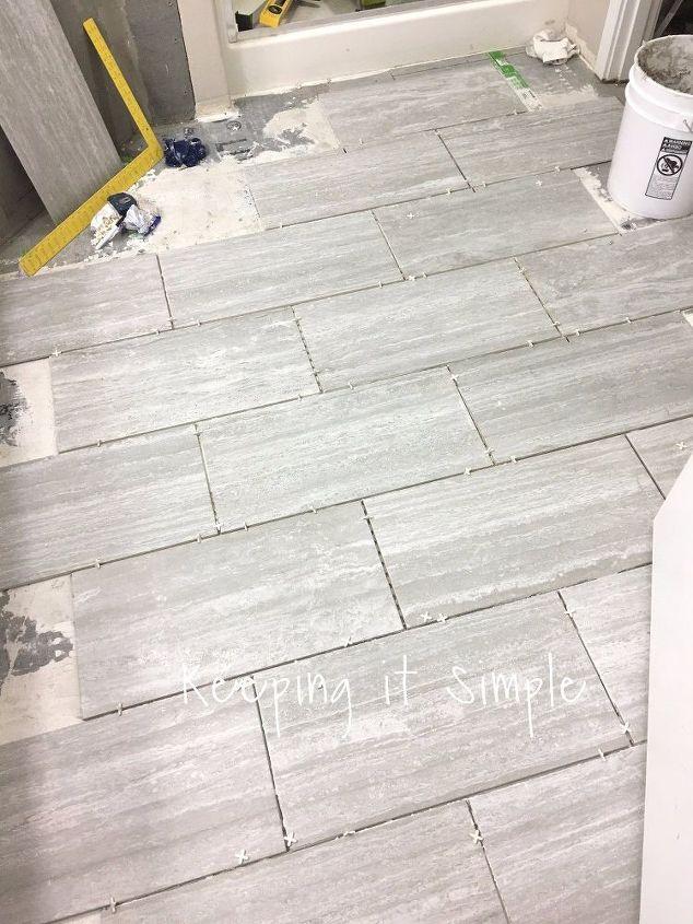 How To Tile A Bathroom Floor With 12x24 Gray Tiles Hometalk