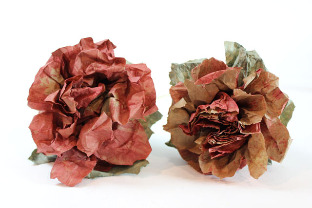 roses made from brown paper lunch bags