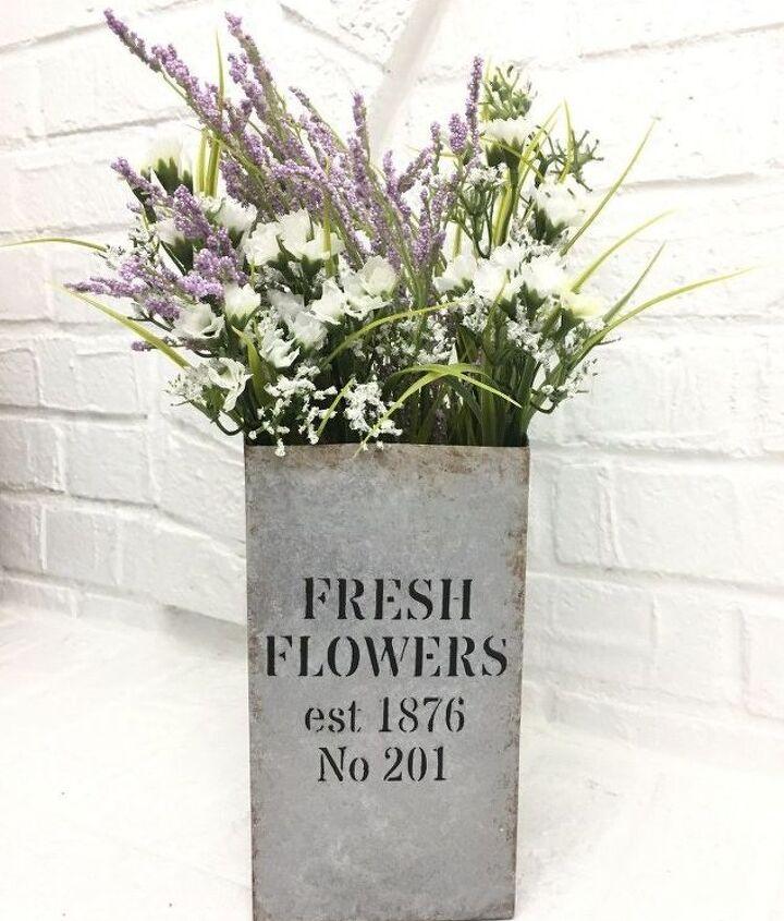 fresh flowers vase faux galvanized finish