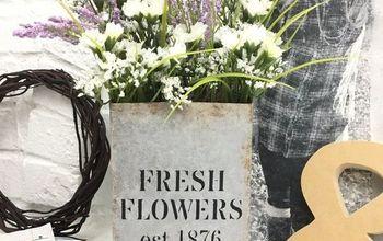 Fresh Flowers Vase - Faux Galvanized Finish