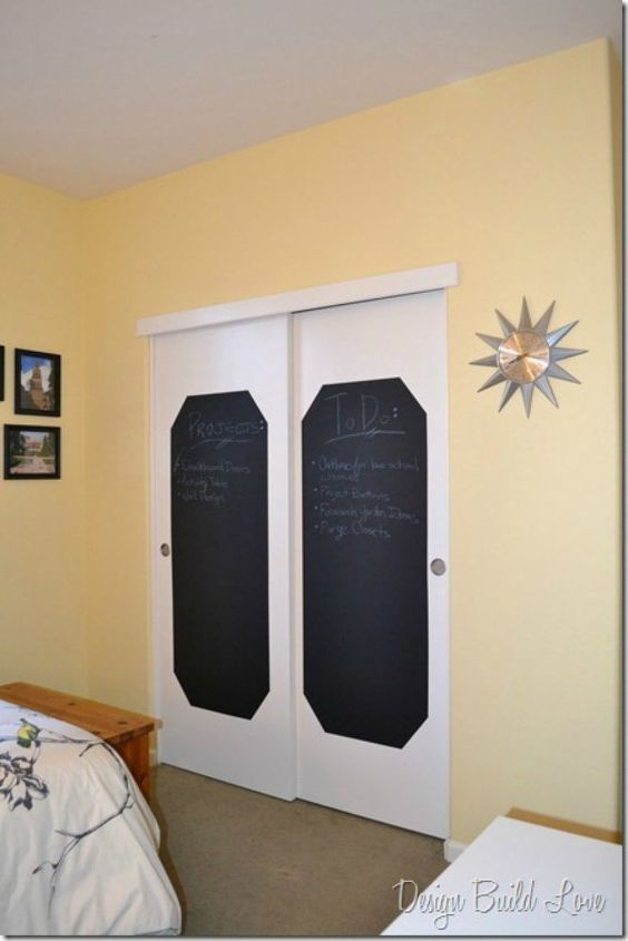 s 13 amazing closet door transformations that will change your room, These sliding chalkboard closet doors