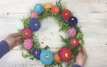 Pinecone Zinnia Wreath