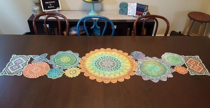 dyed vintage doily table runner