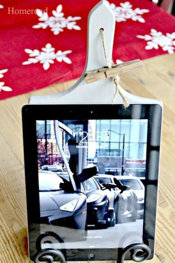 s transform old cutting boards into these 13 nifty items, Repurpose them into Ipad stands